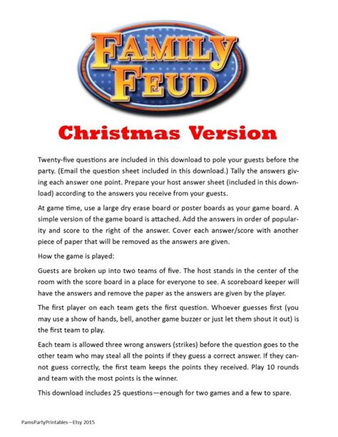Christmas Family Feud Printable Game Christmas Family Printable Family Feud