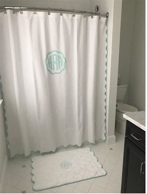Matouk Shower Curtain by Matouk Monogrammed Le Scallop Shower Curtain