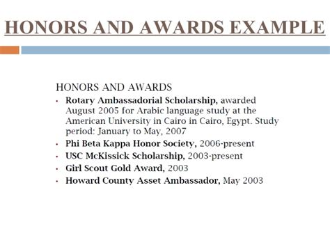 Honors And Awards Resume by Resume Building