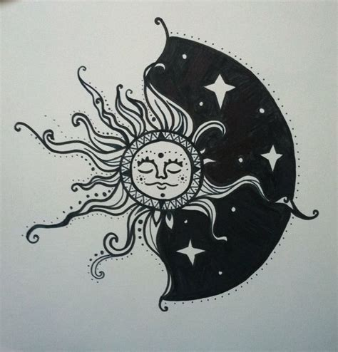 sun amp moon drawing tattoos pinterest moon drawing