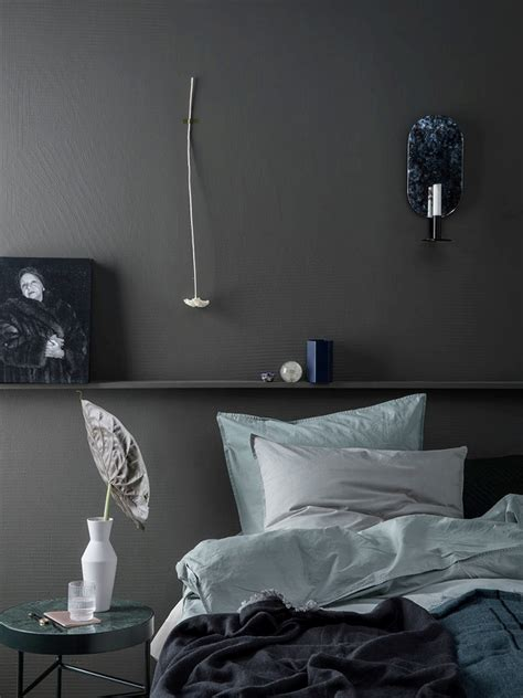 dusty blue bedroom colour block bed cover dusty blue ferm living bedroom