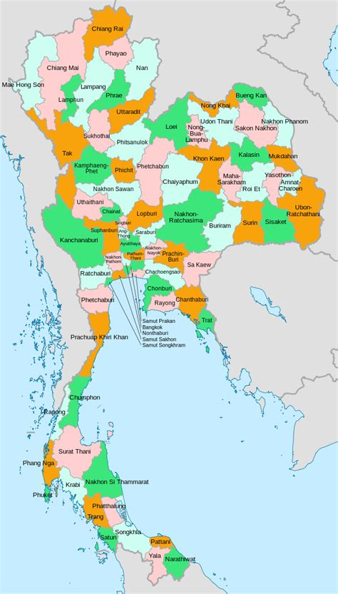 map thailand provinces of thailand