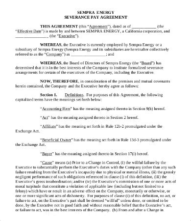 wage agreement template severance agreement templates 8 free word pdf documents