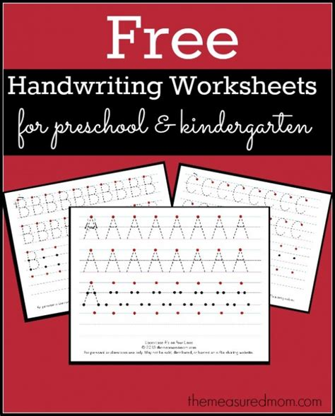 free printable worksheets for kindergarten writing free printable handwriting worksheets for preschool