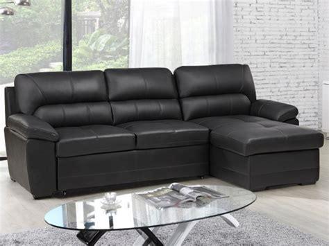 canap 233 d angle convertible en cuir noir ou gris etienne