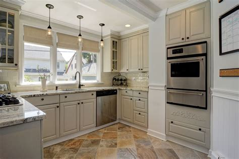 Small Eat Kitchen Design Photos Slate Floors traditional kitchen with complex granite counters amp stone