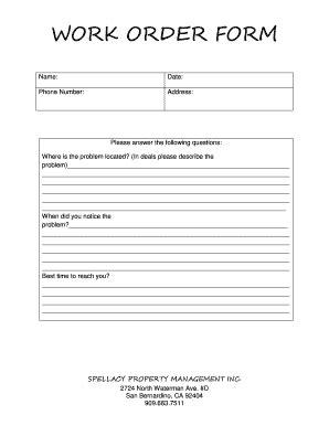 Work Order Form Spellacy Management Property Fill Online Printable Fillable Blank Property Management Work Order Template