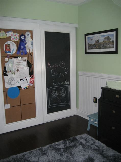 Chalkboard Sliding Closet Doors Idea For Sliding Closet Doors Use Chalk Board Paint And Baseboard Moulding On One Side And Cork