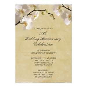 50th wedding anniversary vintage white orchid invitation
