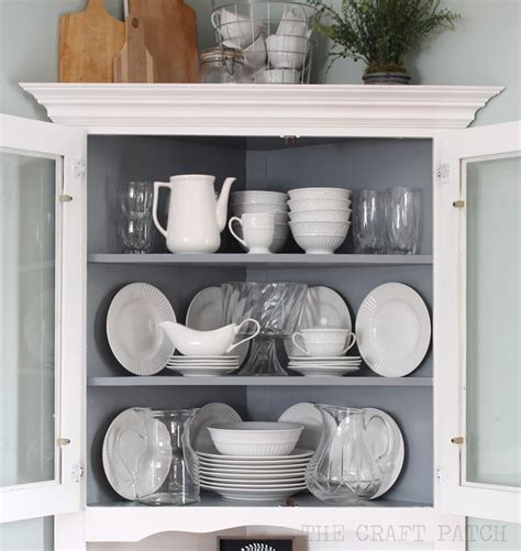 how to decorate a china cabinet with dishes corner hutch furniture makeover thecraftpatchblog com