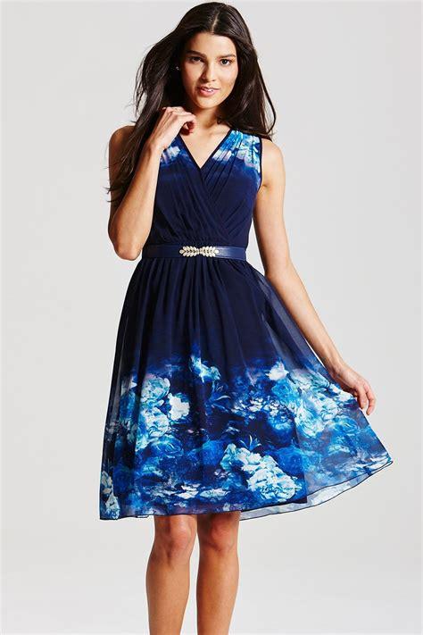 Dress Blue Floral blue floral crossover dress from uk