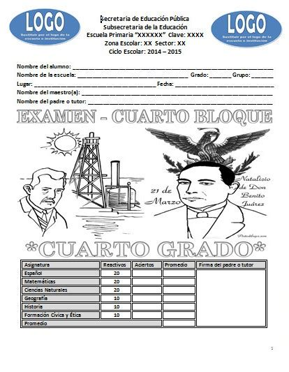 examenes de 4 primaria 5 bimestre examen del cuarto grado del cuarto bloque ciclo escolar