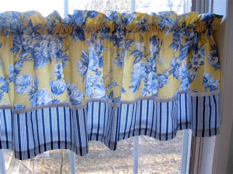 Yellow And Blue Window Valances Curtain Country Valance Window Treatment Blue And