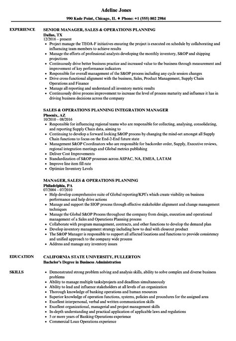 S Op Resume by Operations Planning Resume Sles Velvet