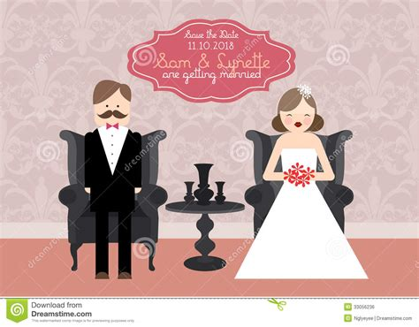 and groom card template wedding invitation card template illustration stock