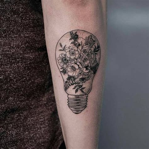 line light bulb idea line tattoos
