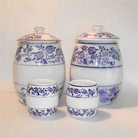 kitchen canisters blue four piece german blue onion kitchen canisters blue