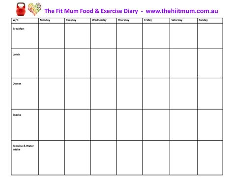 food and exercise journal template journal food diary template diet and exercise