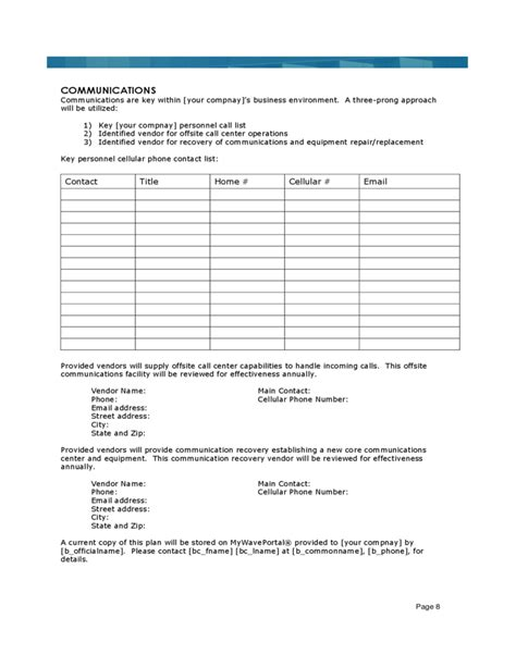 Sle Business Continuity Plan Template Free Download Business Continuity Template Sle
