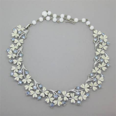 jewelcraft 1950 s white blue enamel flower necklace uk