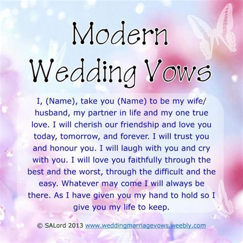7 Creative Wedding Vows by Modern Wedding Marriage Vows Sle Vow Exles