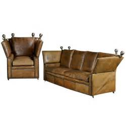 antique leather knole sofa and chair at 1stdibs
