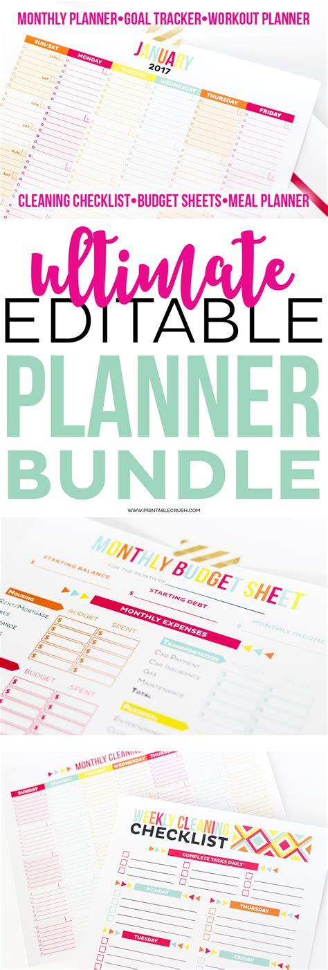 Printable Planner Bundle | ultimate editable planner bundle set of 5 20 off