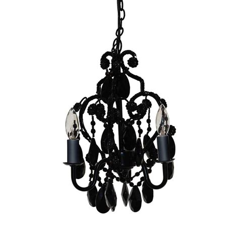 Mini Black Chandeliers With Crystals Tadpoles 3 Light Black Onyx Mini Chandelier Cchapl020 The Home Depot