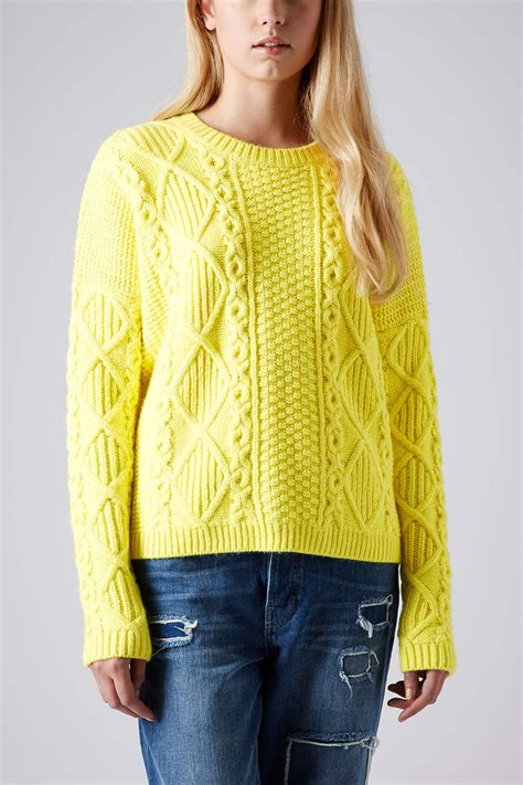 yellow knitted jumper lyst topshop knitted angora cable jumper in yellow