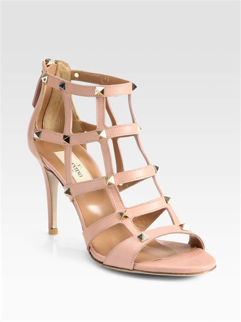 Valentino Studed valentino studded leather cage sandals in pink lyst