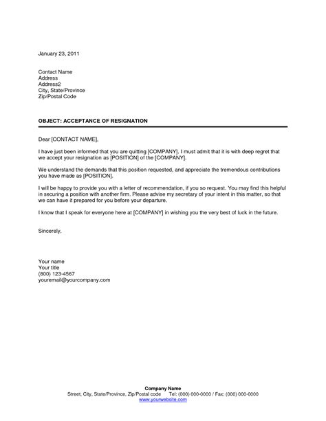 Offer Letter Quiting Acceptance Of Resignation Letter Through Email Resume Layout 2017