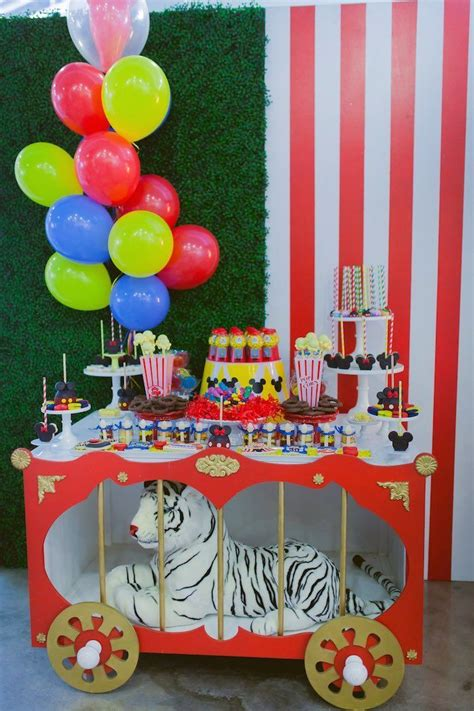 carnival themes ideas dessert table from a mickey mouse circus birthday party