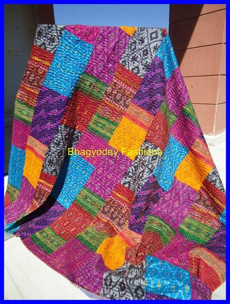 How To Make Quilts From Sarees by Vintage Sari Quilts Vintage Kantha Quilt Indian Sari