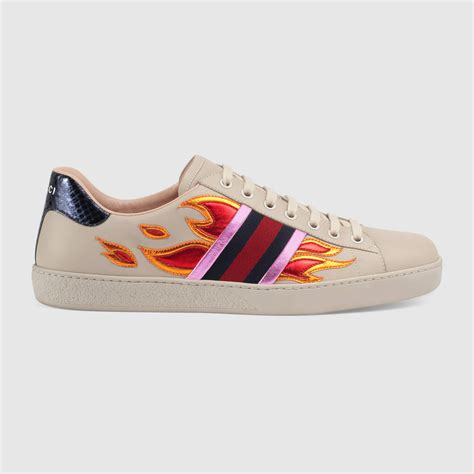 gucci sneakers ace low top sneaker with flames gucci s sneakers