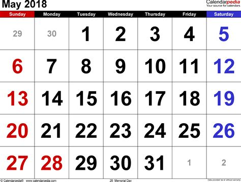 2018 Calendar May May 2018 Calendars For Word Excel Pdf