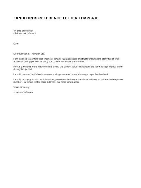 landlord reference letter template templates