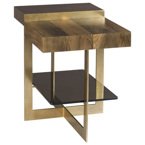 glass and bronze table winkler end table with tempered bronze glass shelf by