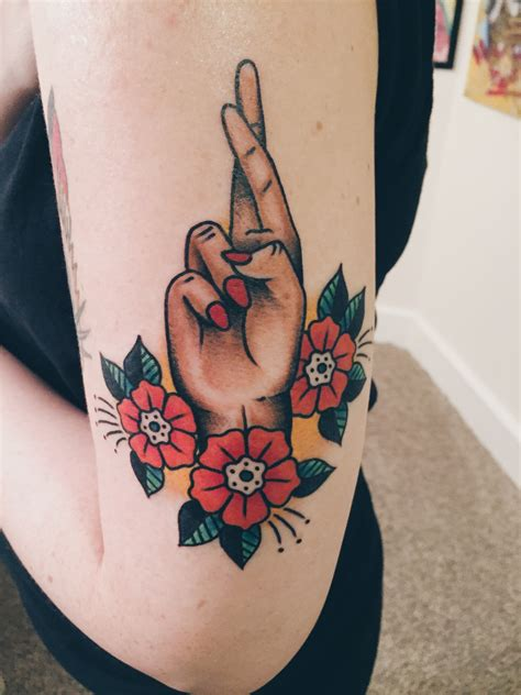tattoo finger cross fingers crossed tattoo by barrett fiser at electric tattoo
