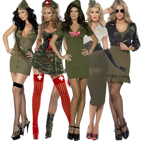party themed costumes womens ladies new miliatary army soldier fancy dress party