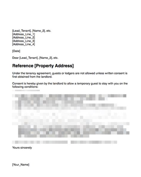 authorization letter of tenant consent to allow a temporary guest to stay with your