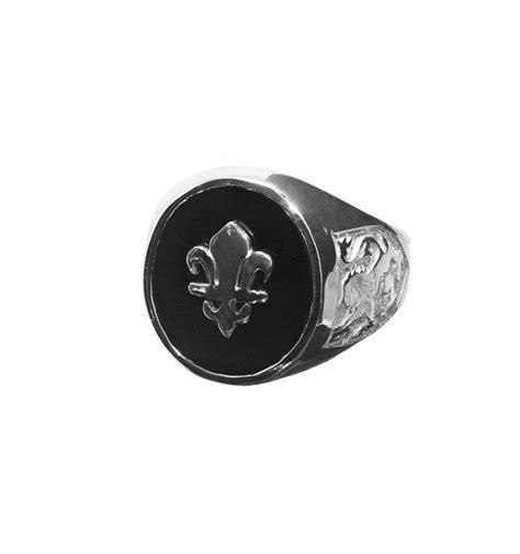 black onyx fleur de lys overlaid sterling silver ring