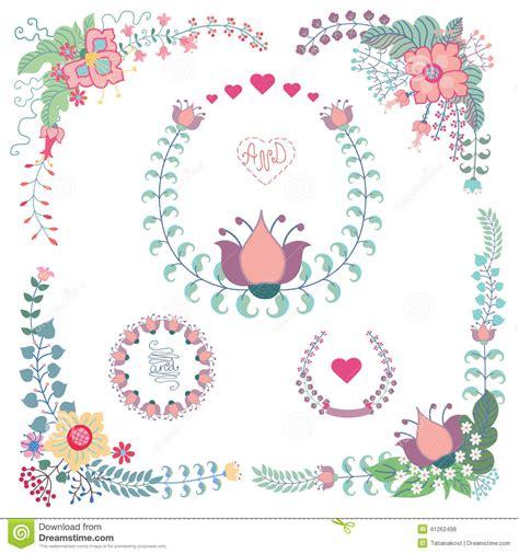 cute wedding decoration vector free download cute vintage set vector floral set stock vector image