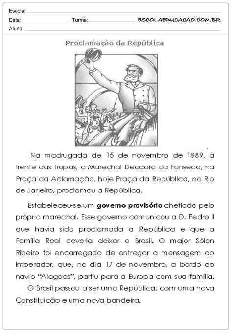 Atividades Proclamação da República 4° ano - Escola Educação