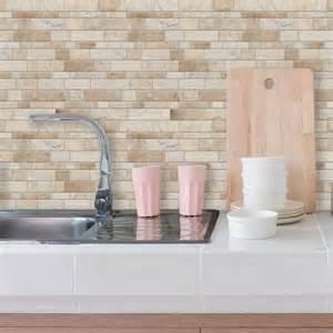 Stick On Backsplash Tiles by Neutral Long Stone Sticktiles Peel Amp Stick Backsplashes