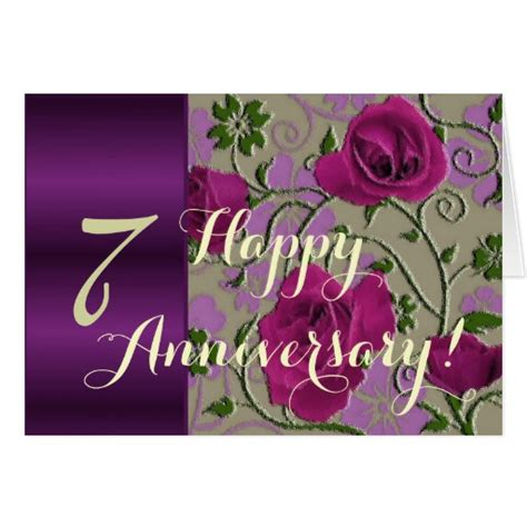 Wedding Anniversary Roses by 7th Wedding Anniversary Roses Greeting Card Zazzle