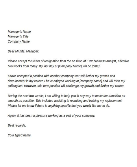 business letter template resignation 28 images