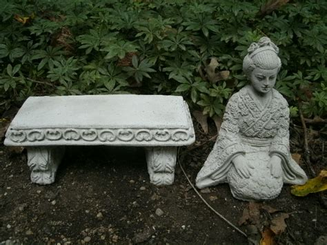 small concrete garden benches beautiful small cement geisha girl bench pair garden art concrete asian statue