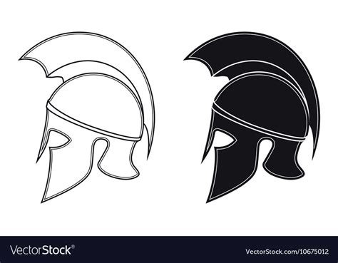 ancient helmet template ancient warrior helmet side silhouette vector image