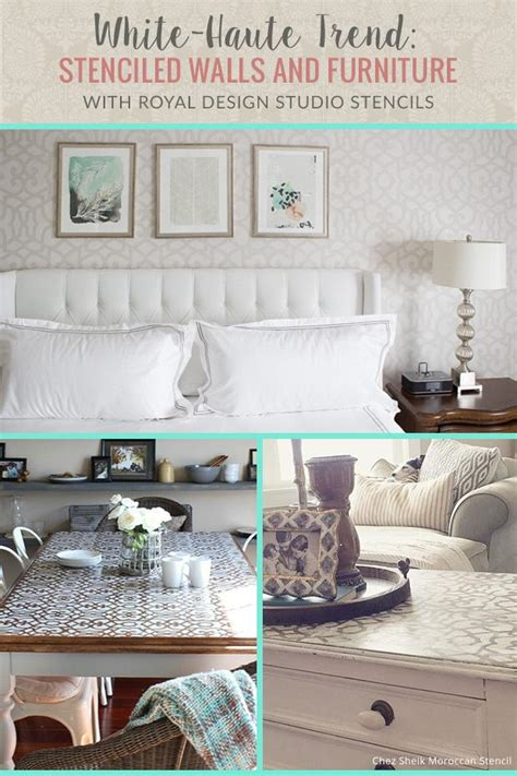 white decor trend wall stencils  painted furniture