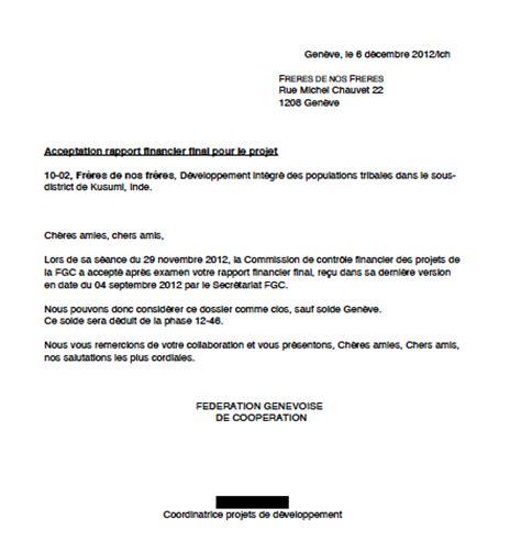 Modèle Lettre Demande De Quitus Exemple D Un Projet Federeso